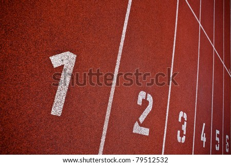 Sport grounds concept - Athletics Track Lane Numbers - stock photo
