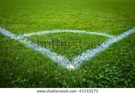 Sport grounds concept - Football/soccer pitch (color toned image) - stock photo