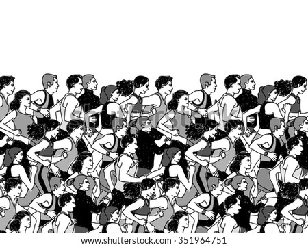 Sport group people run and sky black. Healthy marathon with group young people. Color illustration.  - stock photo