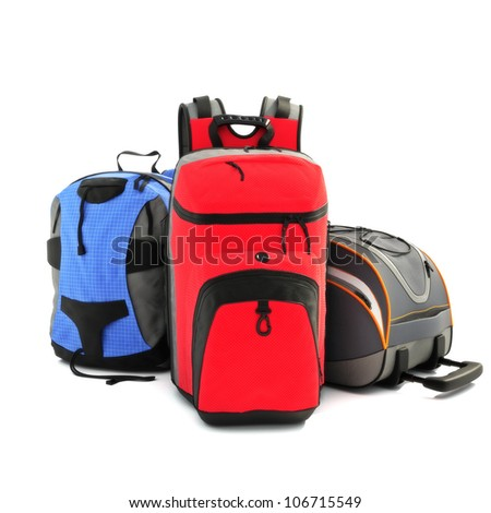 Sport hiking backpacks on a white background - stock photo