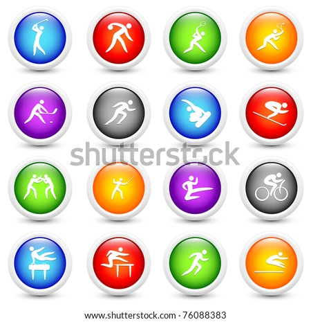 Sport Icon on Reflective Button Collection Original Illustration - stock photo