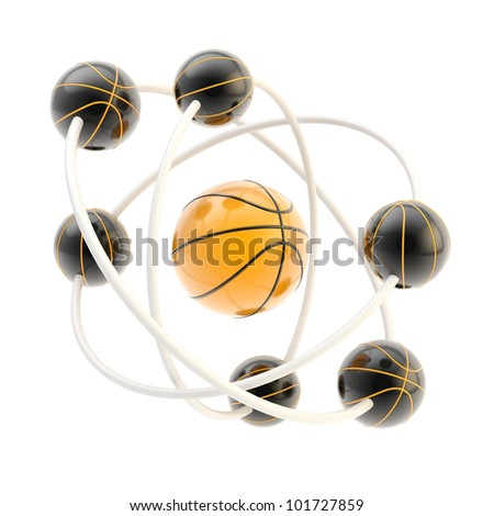 Sport is science: basketball molecule made of balls isolated on white - stock photo