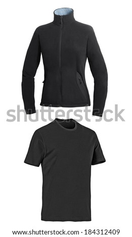sport jacket isolated and t-shirt on white background