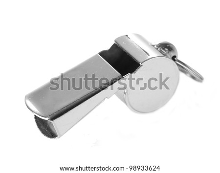 sport metal whistle isolated on white