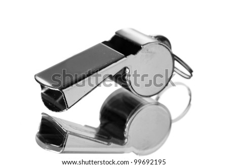 sport metal whistle isolated on white - stock photo