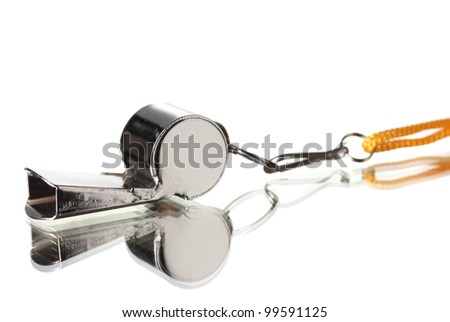sport metal whistle on gray background - stock photo