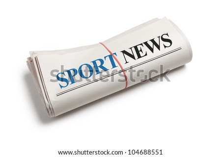 Sport News, Newspaper roll with white background