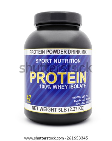 Sport nutrition, bodybuilding supplements, diet concept - whey isolate protein jar isolated on white background - stock photo