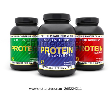 Sport nutrition, bodybuilding supplements, diet concept - whey isolate, soy and egg protein jar cans isolated on white background - stock photo
