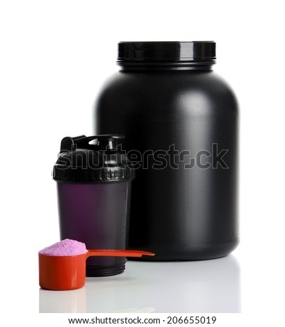 Sport Nutrition, Whey Protein and Gainer. Black Plastic Jars and Shaker isolated on white background - stock photo