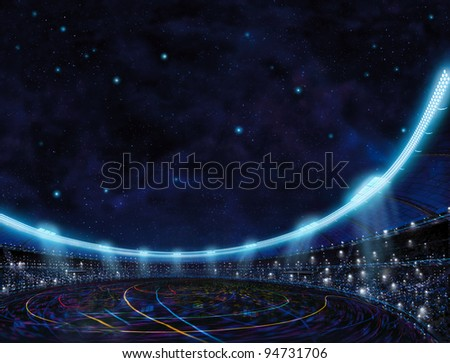 sport place site stadium with color lines above in blue stars space background - stock photo