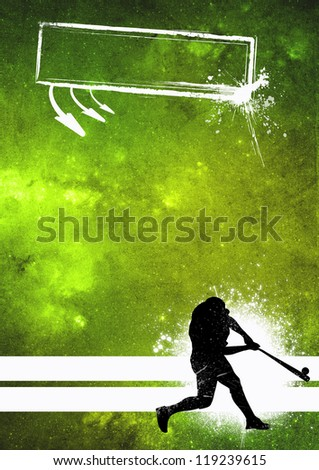Sport poster: Baseball player grunge background with space - stock photo