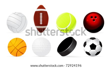 Sport realistic ball set isolated on white background. - stock photo