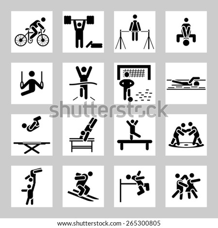 Sport related icons set - stock photo
