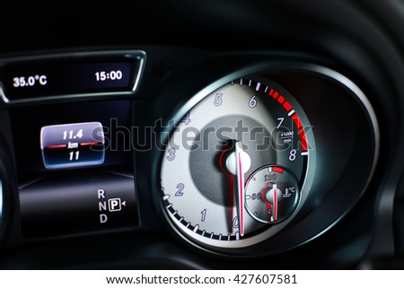 Sport's Car Dashboard and gauges  - stock photo