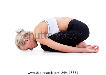 Sport Series: yoga . Childs Pose - stock photo
