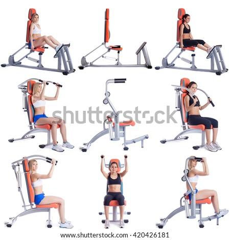 Sport. Set of cute girls exercising on simulators - stock photo