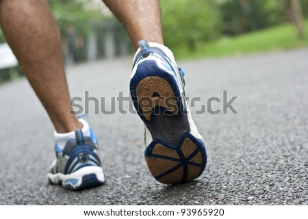sport shoe closeup.Shallow depth of field, focus on Right  shoe. - stock photo