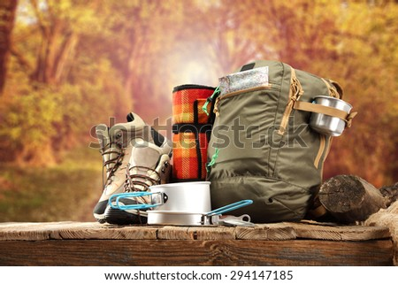 sport shoes and backpack in brown color  - stock photo