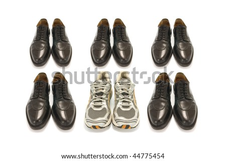 sport shoes and business shoes on white background - stock photo