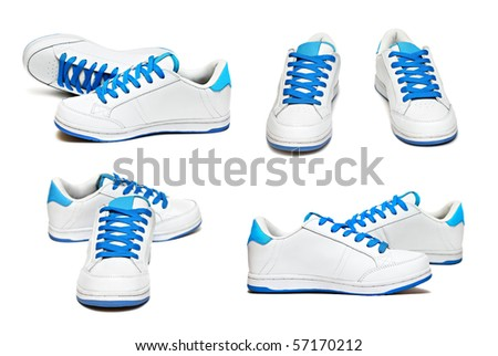 Sport shoes set isolated on white background - stock photo