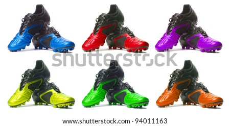 Sport shoes set.  Isolated on white. Manycolored - stock photo
