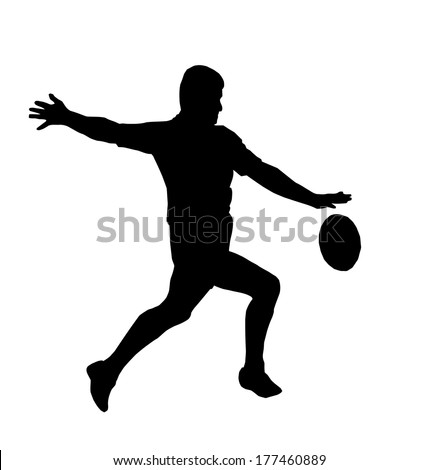Sport Silhouette - Rugby Football Player Maring Running Kicking For Touch - stock photo