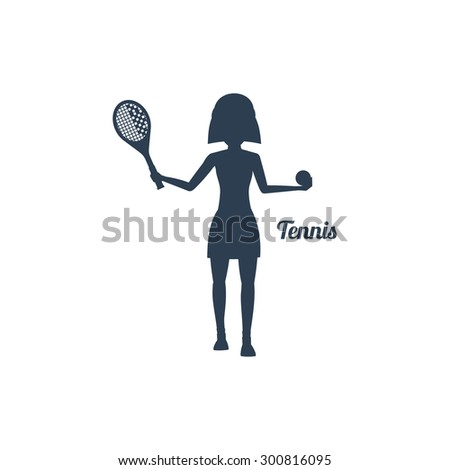 Sport silhouettes icon in black color on white background with text Tennis. Woman with racket and tennis ball. For web construction, mobile applications, banners, brochures. Raster version - stock photo