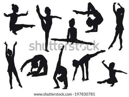 Sport. Silhouettes of gerls, children at dance, aerobics, shaping. little gymnast athlete isolated on white background - stock photo