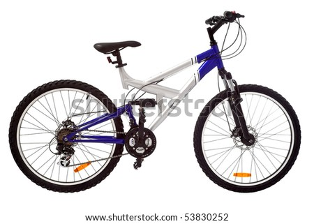sport silver and blue bicycle isolated - stock photo