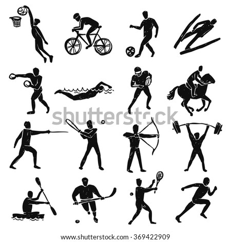 Sport Sketch People Set - stock photo