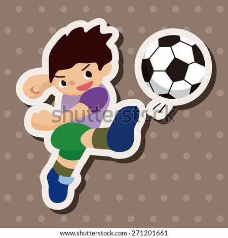 Sport soccer player, cartoon stickers icon
