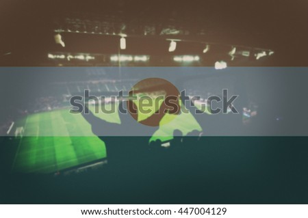 sport stadium with fans and blending Niger flag