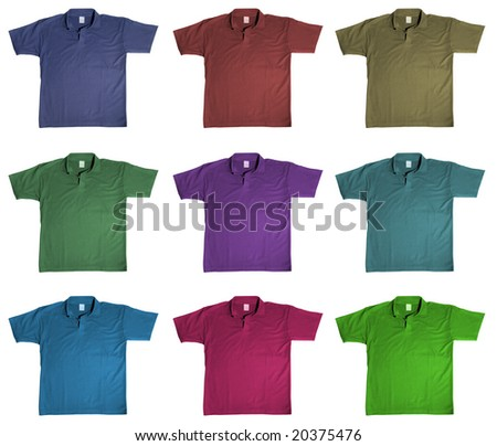 sport t-shirt in nine kinds of color, isolated on white background - stock photo