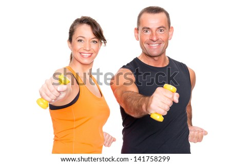 Sport team in front of white background - stock photo