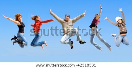 sport  team jumping - stock photo