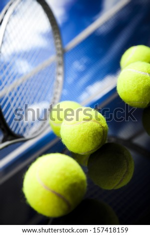Sport, Tennis racket and balls - stock photo