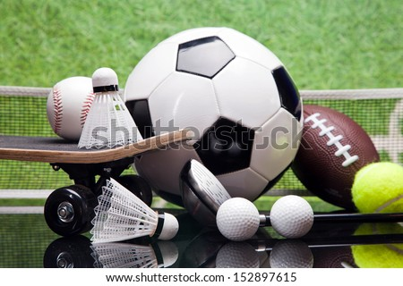 Sport theme! Balls, and other sport equipment! - stock photo