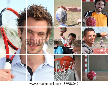 Sport themed collage - stock photo