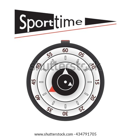 Sport time illustration. Concept of Sport watch or wristwatch or stopwatch. raster illustration.
