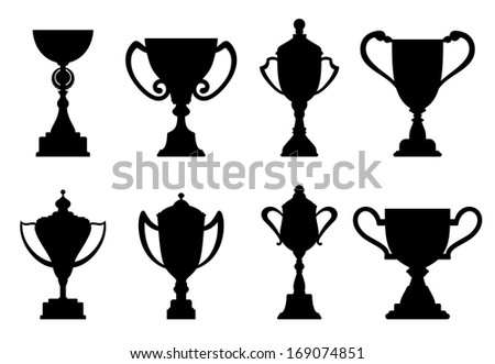 Sport trophies and awards isolated on white background. Vector version also available in gallery - stock photo