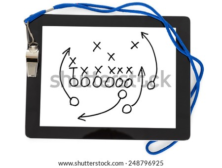 Sport Whistle And Football Strategy On Digital Tablet Over White Background - stock photo