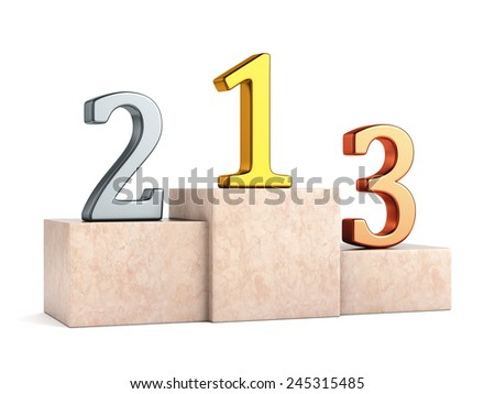 Sport winners pedestal. Golden, silver and bronze numbers on marble podium with first, second and third place isolated on white background. - stock photo