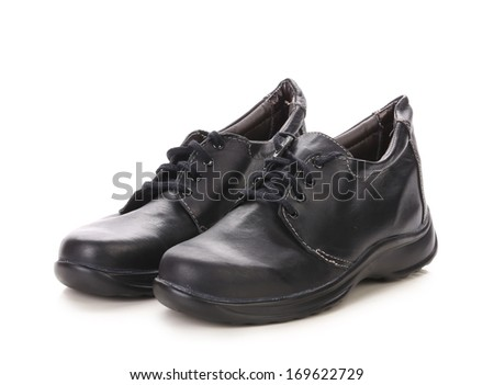 Sport winter black boots. Isolated on a white background.