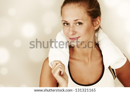 sport woman close up portrait - stock photo