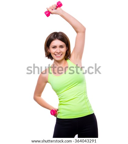 sport woman doing side bends with dumbbells - stock photo