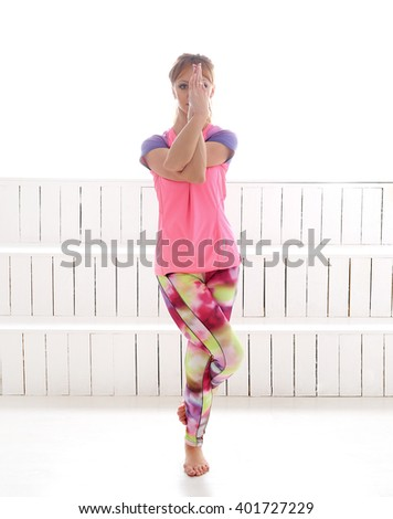 Sport. Woman in the gym during warm up - stock photo