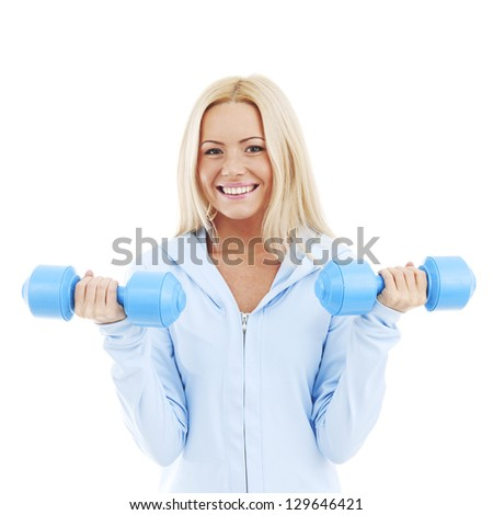 sport woman isolated on white - stock photo