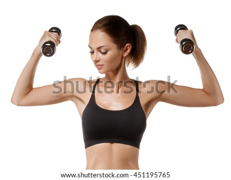 Sport. Woman sport body strong and beautiful with dumbbell isolated on white