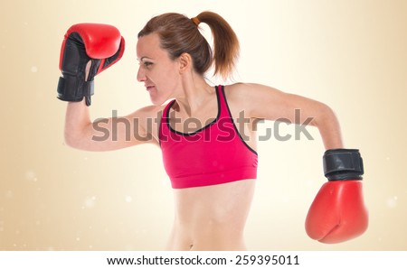 Sport woman with boxing gloves  - stock photo